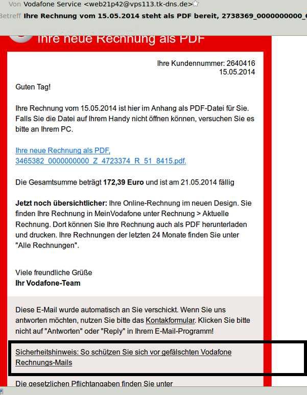 Gefälschte Vodafone Rechnungen Im Umlauf Metropolnewsinfo