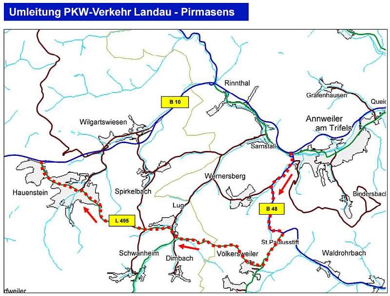 Umleitung PKW-Verkehr Landau - Pirmasens
