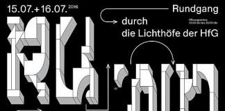 Der Plakatentwurf des diesjährigen Rundgangs der HfG Karlsruhe stammt von den Studierenden Massimiliano Audretsch, Catharina Grözinger und Shuaitong Zong.