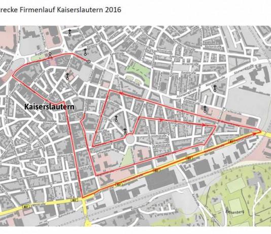 Die für die Sperrung vorgesehenen Straßen entsprechen dem Streckenverlauf des Firmenlaufs, hier rot markiert.