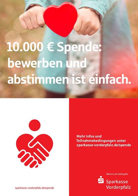Mit einem Plakat wird die Spende beworben (Foto: Sparkasse Vorderpfalz)