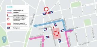 """Skizze """"Anliegerverkehr während der Vollsperrung der Kreuzung Eckenheimer Landstraße/Glauburgstraße"""" (Foto: Stadt Frankfurt am Main)"""
