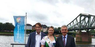 OB Peter Feldmann, Apfelweinkönigin Bianca I und Peter Possmann bei Pressekonferenz zum Mainfest