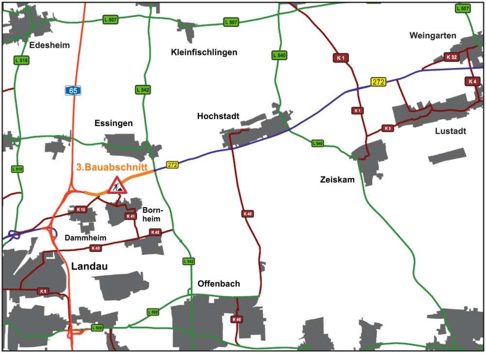 Der 3. Bauabschnitt zwischen dem Kreisverkehrsplatz bei Essingen und der Autobahn A 65 (Foto: LBM Speyer)