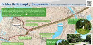 Auf dieser Informationstafel nahe der Straßenbahn-Endhaltestelle Rappenwört ist die die geplante Spundwand visualisiert. Darin ist der vorgesehene Trassenverlauf am Rande des Rheinparks weitgehend am Waldrand beziehungsweise im Wald und die Bepflanzung von immergrünem Buschwerk vor der Spundwand zu erkennen. Es ist auch eine Begrünung der Spundwand selber vorgesehen. Die Sichtbeziehung zur Eiswiese und zum Freibad wird hierdurch nicht beeinträchtigt. (Foto: Regierungspräsidium Karlsruhe)