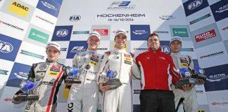 Prize giving ceremony of the 2016 Championship, 22 Joel Eriksson (SWE, Motopark, Dallara F312 - Volkswagen), 17 Maximilian Günther (DEU, Prema Powerteam, Dallara F312 – Mercedes-Benz), 1 Lance Stroll (CAN, Prema Powerteam, Dallara F312 - Mercedes-Benz)