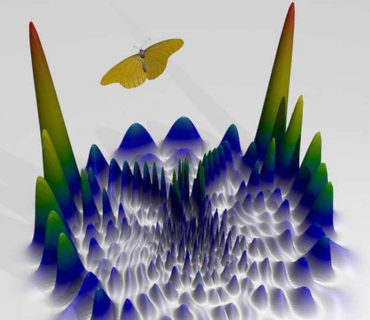Die Abbildung zeigt, die Elektronenverteilung in einem Rydbergatom. Sie ähnelt einem Schmetterling. (Foto: AG Ott)