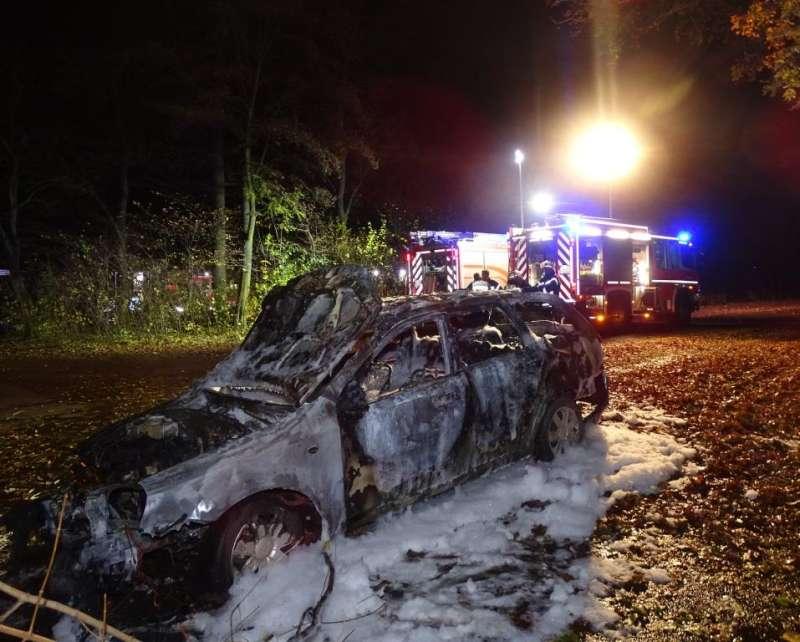 Bei einem Alleinunfall eines mit vier Personen besetzten PKW am Mittwochbend wurden alle Insassen verletzt. Der PKW brannte vollständig aus. (Foto: Feuerwehr Wiesbaden)