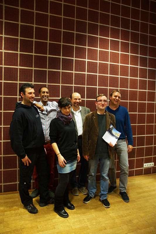 Markus Unterländer, David Schenkenberg, Ellen Herzhauser, Prof. Dr. Andreas Rein, Chris Beck und Klaus Wagner. (Foto: Hochschule Ludwigshafen)
