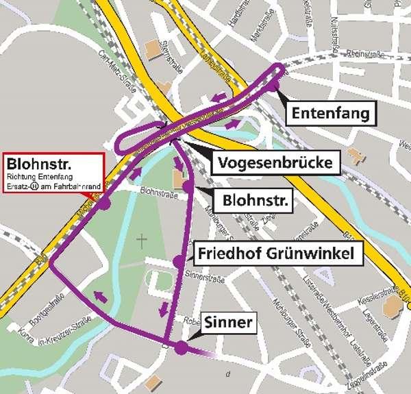 Umleitung der Buslinie 60 (Grafik: VBK)