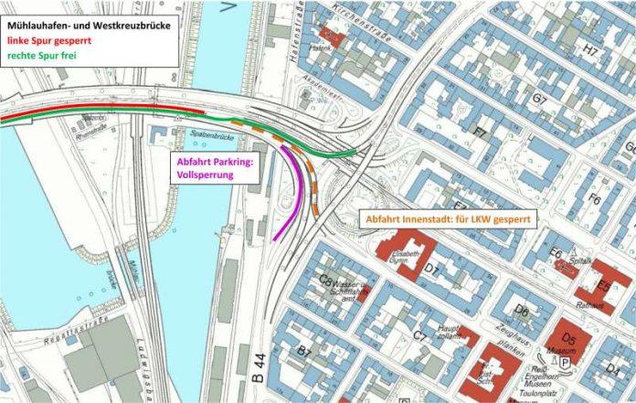 Skizze zur Baumaßnahme Kurt-Schumacher-Brücke (Quelle: Stadt Mannheim)