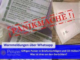 Fotos dieser Art kursieren derzeit über Whatsapp und verbreiten falsche Warnmeldungen vor angeblichen Postsendungen, die giftiges Pulver enthalten sollen. Aber: Das ist Panikmache!