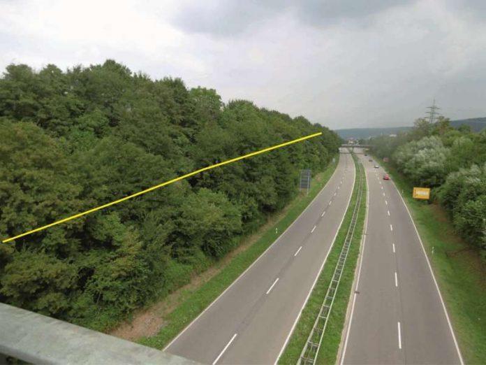 Beispiel: Größere Bäume bis circa zur Böschungsmitte (gelbe Linie) werden auch zur Erhöhung der Verkehrssicherheit entnommen. (Foto: Landratsamt NOK)