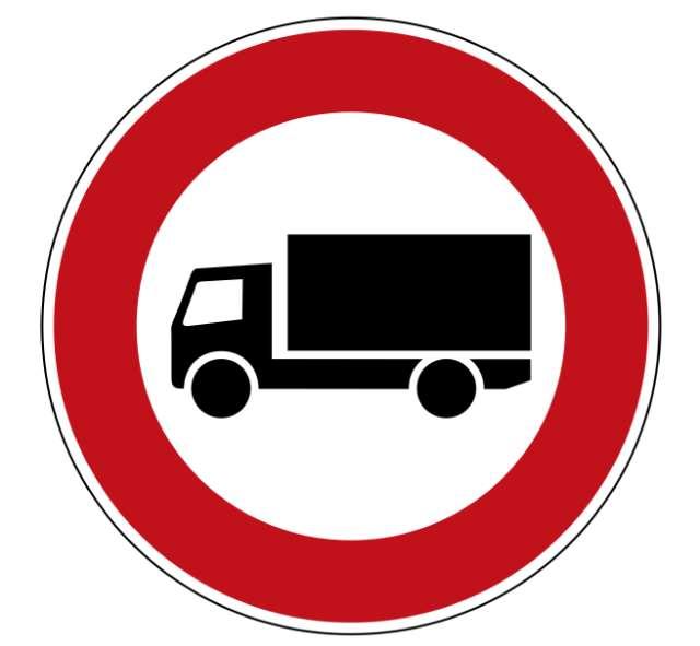 Zeichen 253 Verbot für Kraftfahrzeuge (mit einer zulässigen Gesamtmasse) über 3,5 t, (einschließlich ihrer Anhänger, und Zugmaschinen, ausgenommen Personenkraftwagen und Kraftomnibusse)