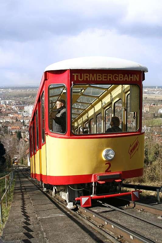 Die Turmbergbahn wurde am 1. Mai 1888 eröffnet und ist damit die älteste Standseilbahn Deutschlands (Foto: VBK)