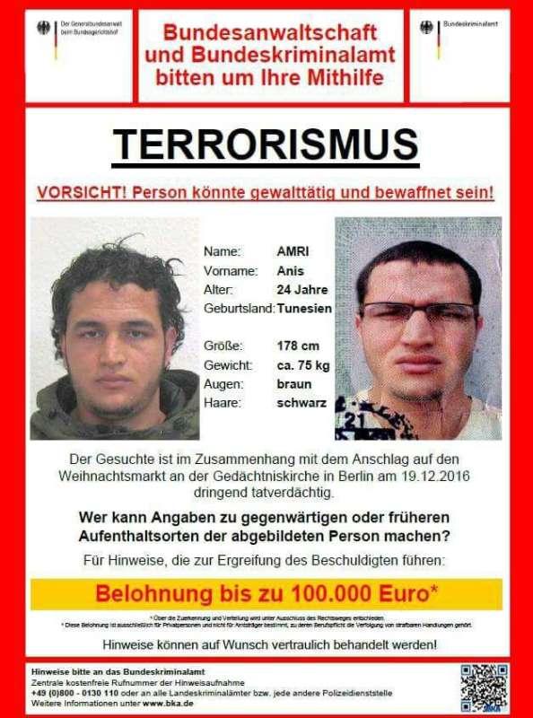 Fahndungplakat - gesucht wird der Tunesier Anis AMRI (Quelle: BKA)