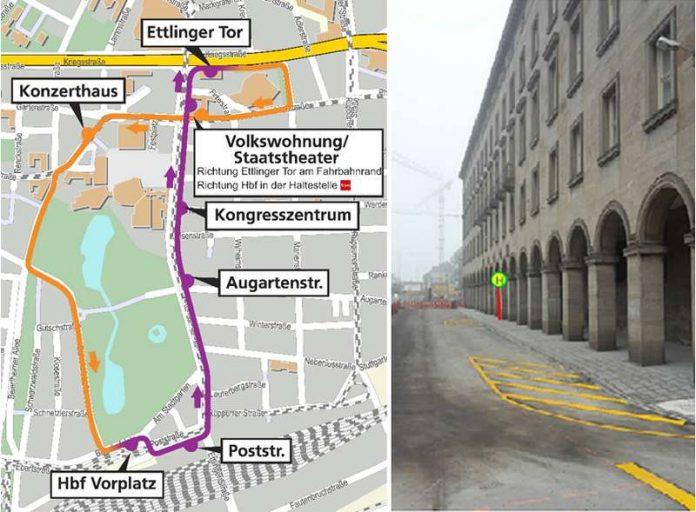 Fahrweg der Buslinie 10 ab 16.12.16 (l.) / Neue Position der Regelhaltestelle (Quelle: VBK)