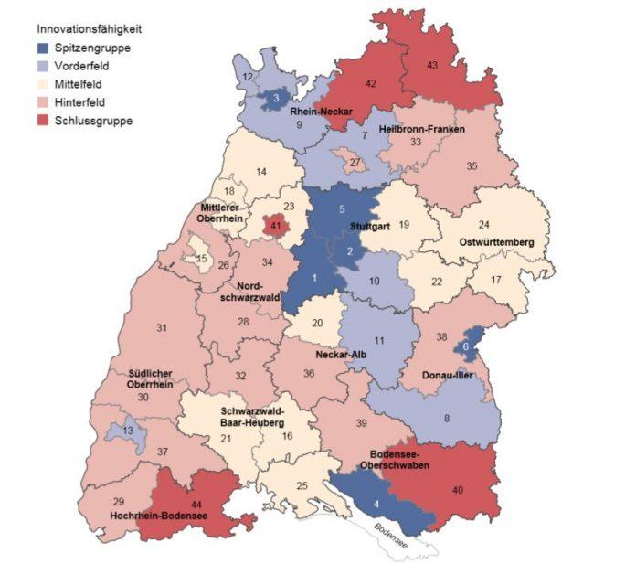 Innovationsindex 2016 für die Stadt- und Landkreise Baden-Württembergs (Quelle: Statistisches Landesamt Baden-Württemberg, Stuttgart, Jahr Kartengrundlage GfK GeoMarketing GmbH, Karte erstellt mit RegioGraph 2015)