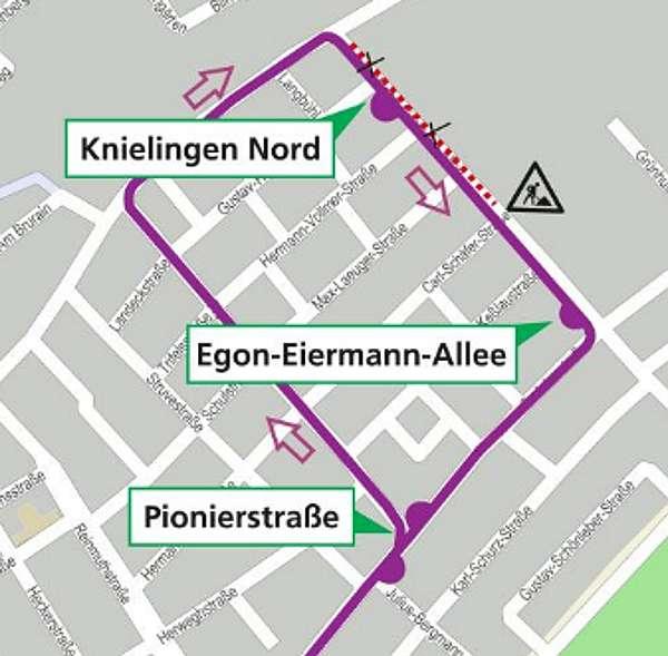 Die Umleitungsroute der Buslinie 76 (Grafik: VBK)