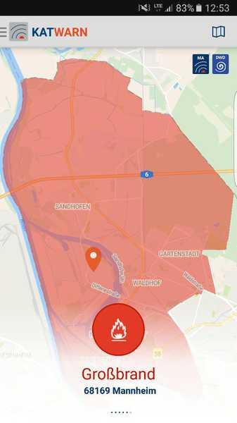 Großbrand Neckarstadt - Katwarn