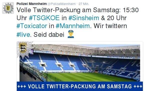 Polizei Mannheimm twittert über das Spiel