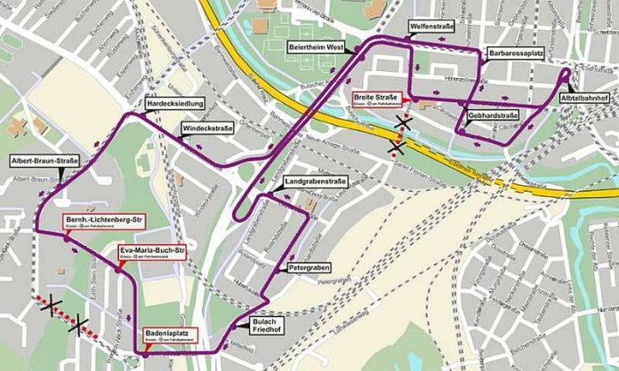 Die Umleitungsstrecke der Buslinie 51 (Grafik: VBK)