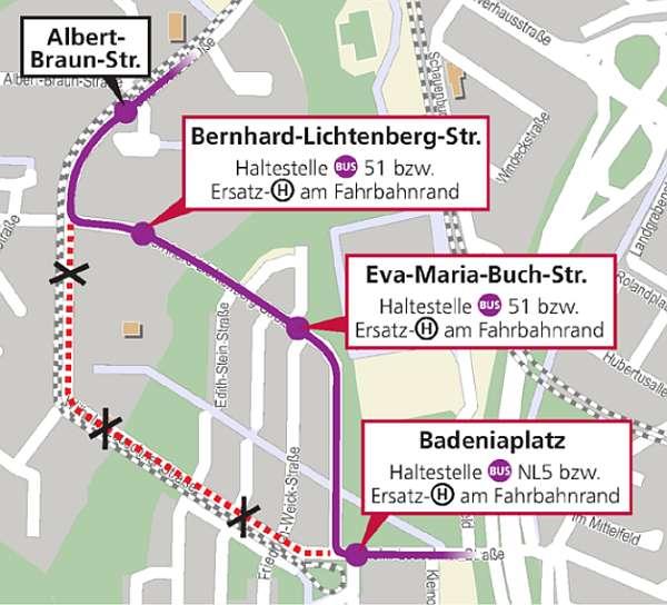 Die Umleitungsstrecke der Nightliner-Linie NL5 (Grafik: VBK)