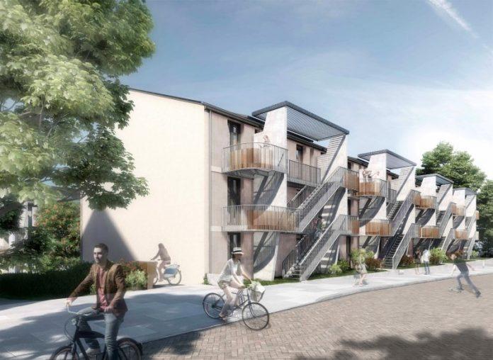 ABG-Wohnungsbauprojekt an der Ecke Gräfendeichstraße und Im Wiener in Oberrad, Vorderansicht, Visualisierung (Visualisierung: Architekturbüro schneider+schumacher)