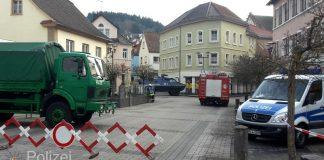 Sperrmaßnahmen in der Innenstadt von Lauterecken (Foto: Polizei RLP)