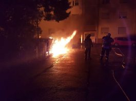 Mülltonnenbrand in der Friedrich-Ebert-Straße (Foto: Feuerwehr)
