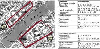 Karte zur Bombenräumung (Quelle: Stadt Frankfurt)