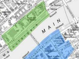 Der Bereich ist eine Nord-Zone oberhalb und eine Süd-Zone unterhalb des Mains unterteilt.
