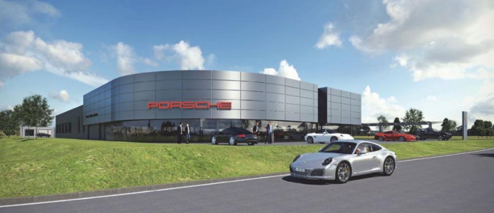 """So soll das Porsche-Zentrum im D10, dem Erweiterungsabschnitt des Gewerbeparks """"Am Messegelände"""", aussehen. (Foto: Dienberg Architekten GmbH Gelsenkirchen)"""