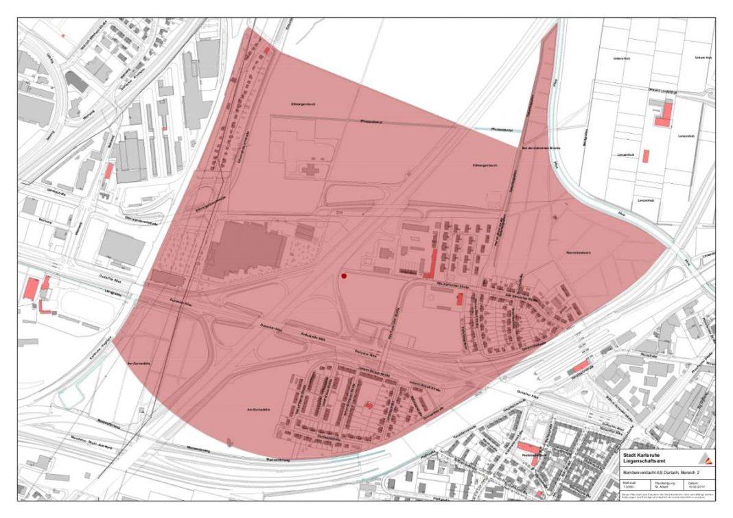 EVAKUIERUNGSGEBIET: Wenn am Sonntag, 5. März, ein Blindgänger entschärft werden muss, dürfen sich ab 10 Uhr keine Personen in Untermühl- und Dornwaldsiedlung sowie in der Kleingartenanlage westlich der Autobahn A5 aufhalten. Wann die Bewohner die in der Karte mit rot hinterlegte Zone wieder betreten können, hängt von der Dauer der Entschärfung ab. Deren Beginn ist für 14 Uhr vorgesehen. (Karte: Stadt Karlsruhe/Liegenschaftsamt)