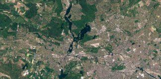 Satellitenaufnahme von Berlin (Foto: BKG, Copernicus data 2015-2016)