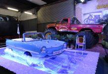 """In der neuen Sonderausstellung """"Crazy Wheels-Verrücktes auf Rädern"""" ist auch ein Amphicar und ein Monstertruck im Auto & Technik Museum in Sinsheim zu besichtigen (Foto: Michael Sonnick)"""