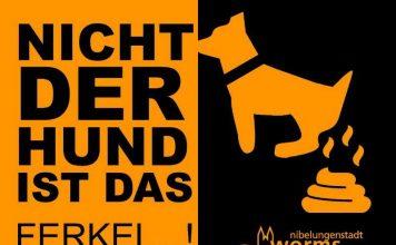 """Ab dem 24. März werden die Aktionsfähnchen gegen Hundekot """"gehisst"""" - diesmal mit weiteren neuen Slogans und in auffälliger Farbe. Foto: Stadt Worms)"""