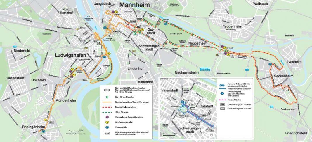 Der neue Streckenplan (Quelle: m³marathon mannheim marketing GmbH & Co. KG)