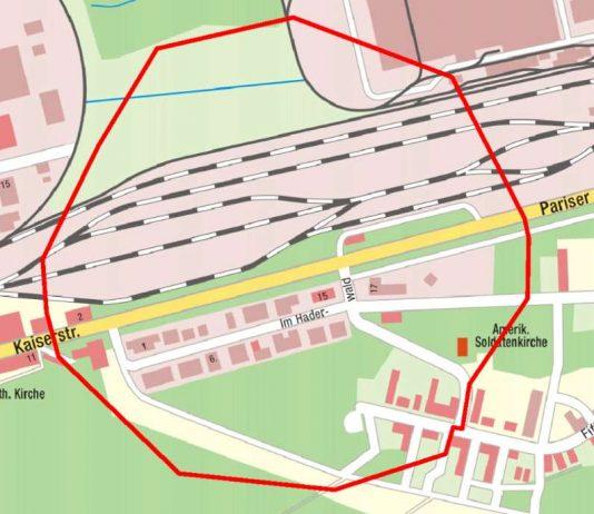 Der zu evakuierende Bereich (Grafik: Stadt Kaiserslautern)