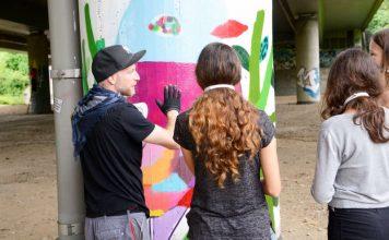Graffiti-Aktion unter der Autobahnbrücke im Volkspark Niddatal (Foto: Stefan Cop)
