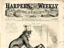 Karikatur mit einem Selbstporträt von Thomas Nast, die im Zusammenhang mit dem Antritt des neuen Präsidenten 1877 stand.