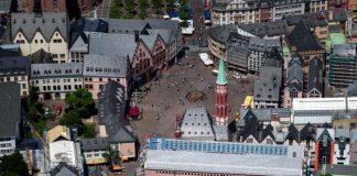 Quartier des Historischen Museums am Römerberg, Luftaufnahme (Foto: Robert Metsch/Historisches Museum Frankfurt)