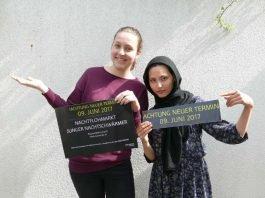 Aline Fuß (leistet derzeit ein Freiwilliges Soziales Jahr Kultur), Samira Radjabi (Schulpraktikantin im KULTour-Amt) (Foto: Stadt Lorsch
