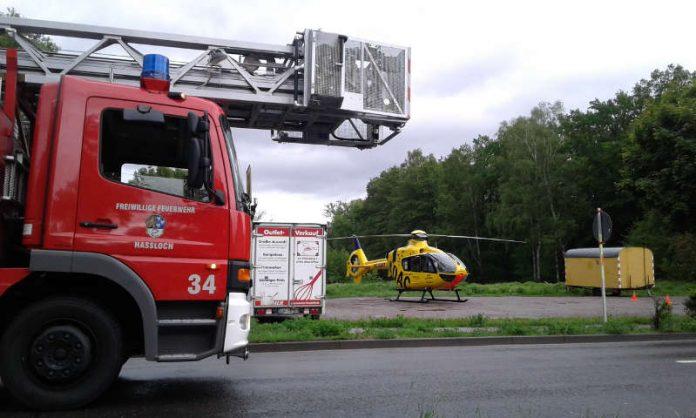 Im Einsatz war auch der Rettungshubschrauber Christoph 5 (Foto: Feuerwehr Haßloch)