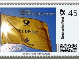 Zum 25-jährigen Jubiläum der Feldpost-Kooperation hat die Deutsche Post eine Briefmarke Individuell herausgebracht. (Foto: Deutsche Post DHL Group)