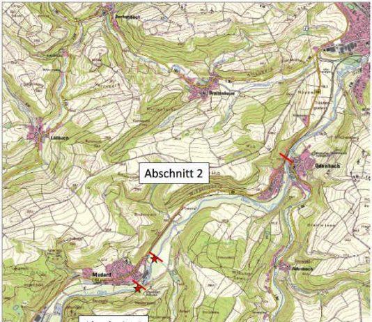 Lageplan mit Kanu-Ein- und Ausstiegspunkten (Quelle: SGD Süd)