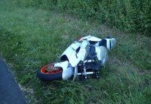 Das beschädigte Krad (Foto: Polizei RLP)