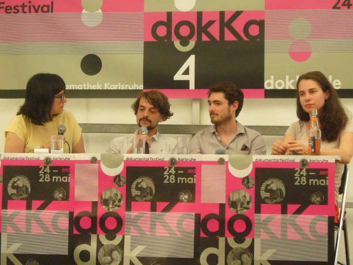 v.l.: DokKa-Moderatorin Carmen Beckmann, Regisseur Msrc Eberhardt, Cutter Pablo Ben Yakov und Produzentin Theresa Bacza (Foto: Hannes Blank)