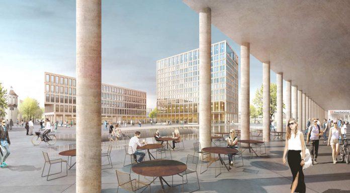 Der Blick aus der Stadtloggia nach Westen auf den Bahnhofsvorplatz Süd im Siegerentwurf von Winking Froh Architekten BDA. (Foto: Winking Froh Architekten BDA)