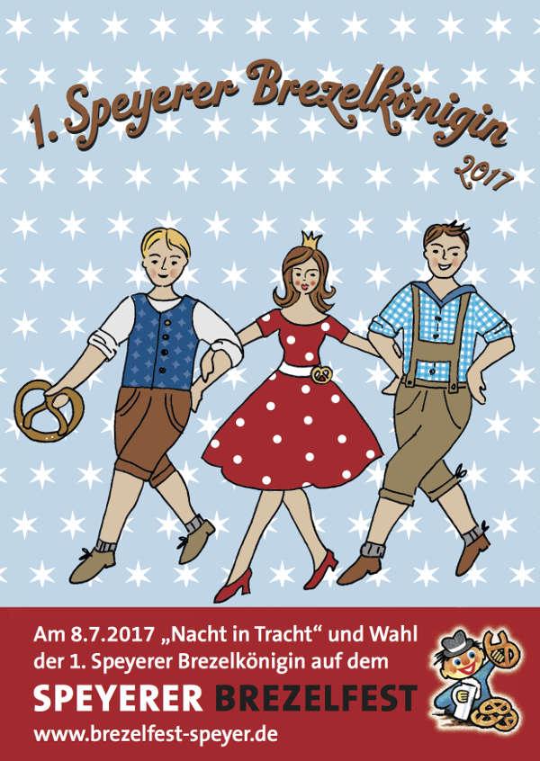 Sparkasse Vorderpfalz gibt 26. Brezelfest-Postkarte heraus, die ganz im Zeichen zur Wahl der 1. Speyerer Brezelkönigin 2017 steht. (Quelle: Sparkasse Vorderpfalz)
